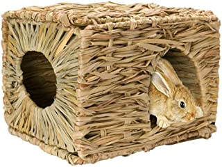 Tfwadmx Rabbit Grass House - Natural Hand Woven Seagrass Play Hay Bed, Hideaway Hut Toy for Bunny Hamster Guinea Pig Chinchilla Ferret