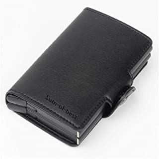 Sum-of-Best Genuine Leather aluminium RFID Credit Card Holder Automatic Pop up Wallet Metal Card Case for Men and Women Up...