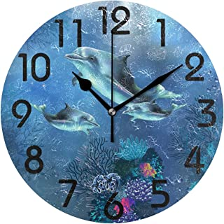 Naanle 3D Underwater World Happy Dolphins Family Print Round Wall Clock Decorative, 9.5 Inch Battery Operated Quartz Analog Quiet Desk Clock for Home,Office,School