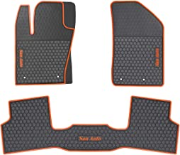 HD-Mart Car Floor Mats Custom Fit for Jeep Renegade 2016 2017 2018 2019 Black Orange Rubber Car Floor Liners Set All Weather Protection Heavy Duty Odorless