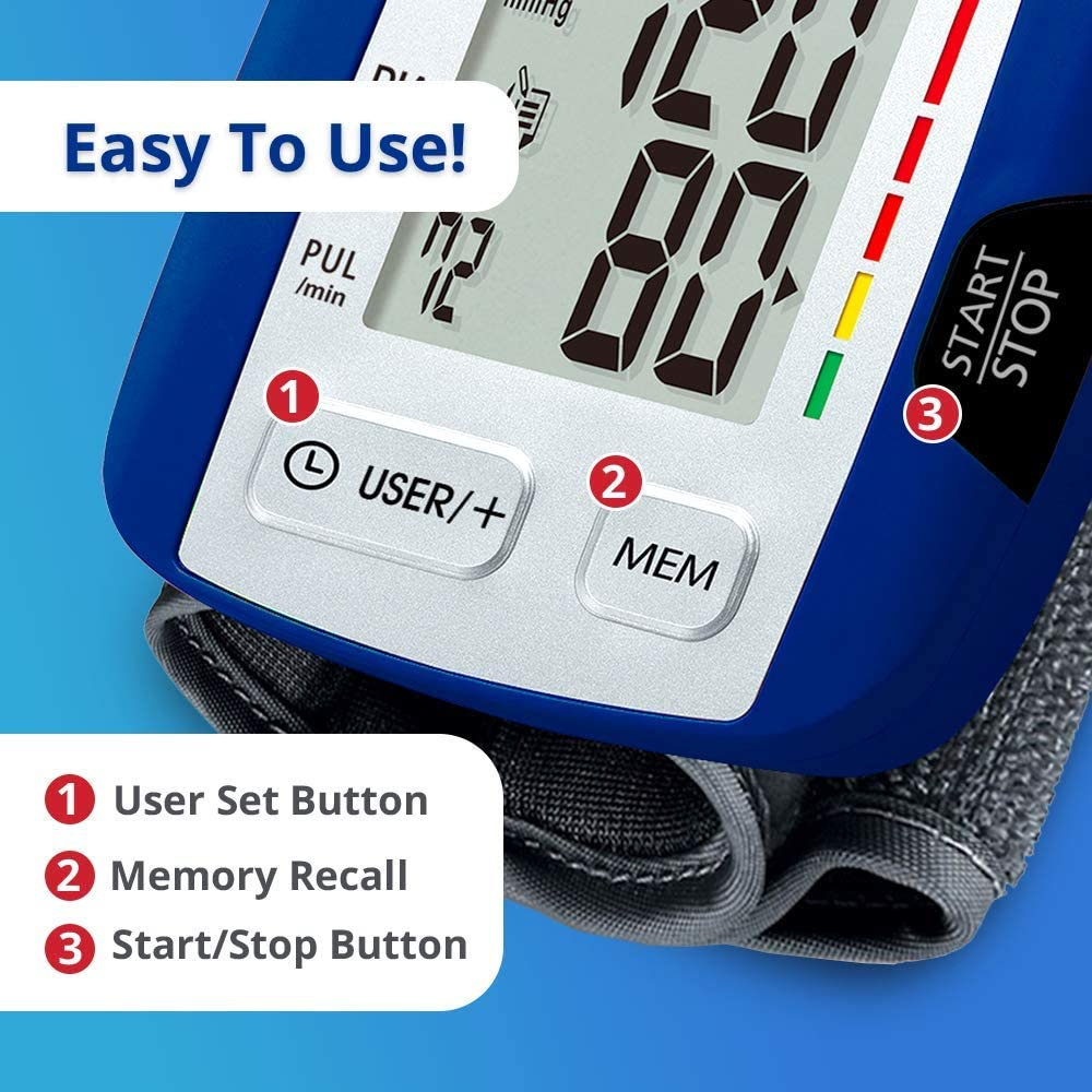 HoMedics Automatic Blood Pressure Monitor, Wrist   Smart Measure Technology   Battery Powered, One-Touch Operation   Irregular Heartbeat and Excessive Body Motion Detection, Memory Average Function