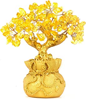 Mumoo Bear BWINKA Feng Shui Natural Citrine Gem Yellow Crystal Money Tree Office Home Table Office for Wealth Luck,Best Gift