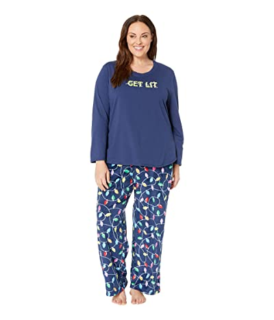 Karen Neuburger Plus Size Get Lit Family Long Sleeve PJ Set (Bright Lights Navy) Women