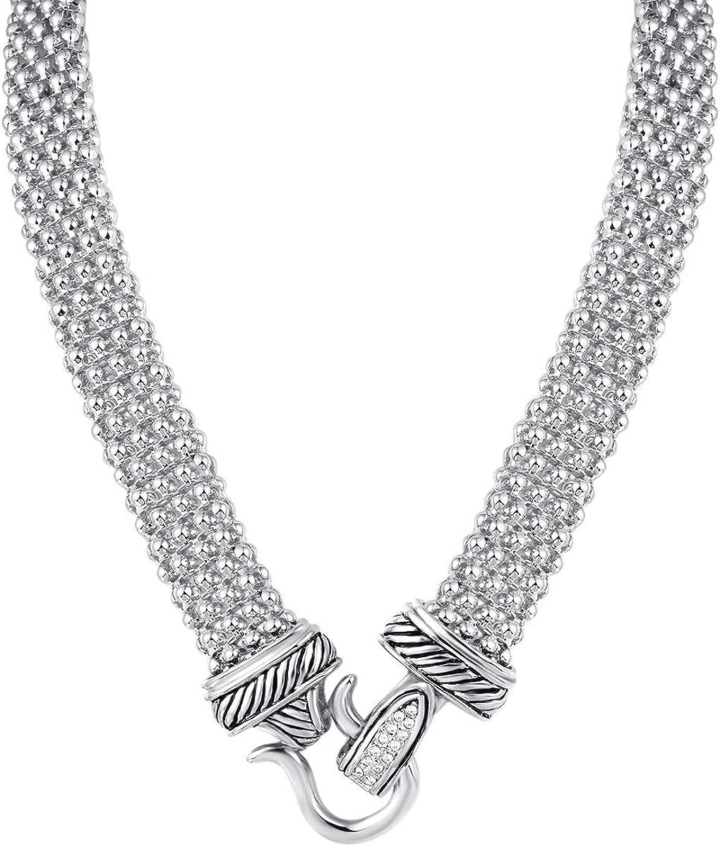 UNY Short Necklace 48cm Popcorn Chain Magnetic Claps Classic Elegant Vintage Antique Jewelry