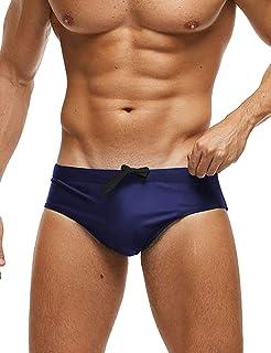 COOFANDY Men's Swim Briefs Sexy Bikini Swimsuit Solid Swimwear with One Swim Cap