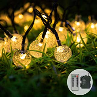 Tiandirenhe Globe String Lights Battery Operated, 39ft/12m 80 LED Crystal Ball Waterproof Warm White Lights, 8 Modes with ...