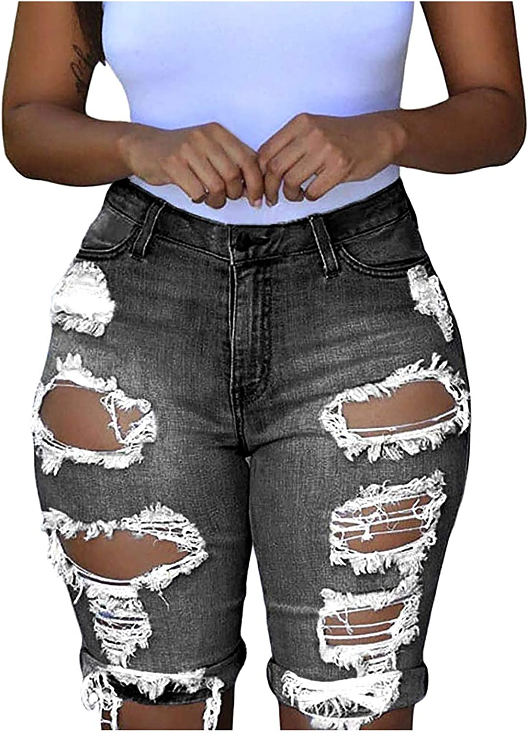MASZONE Y2K Fashion Jeans for Women, Womens High Waist Ripped Hole Washed Distressed Short Jeans Sexy Denim Jean Shorts