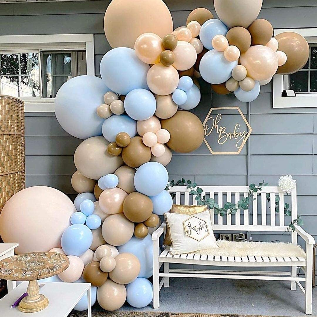 Blue Brown Nude Coffee Ivory White Baby Shower Balloons Balloon Garland Arch Kit, Teddy Bear Baby Shower Gender Reveal Birthday Jungle Them Party Decorations Supplies for Boy Girl