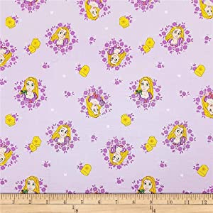 Eugene Textiles Disney Forever Princess Rapunzel In Wreaths in Fabric, Lilac, Fabric By The Yard