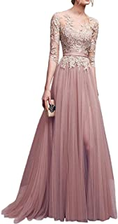 MisShow Applique Tulle 3/4 Sleeves Long Prom Dresses 2019 for Women