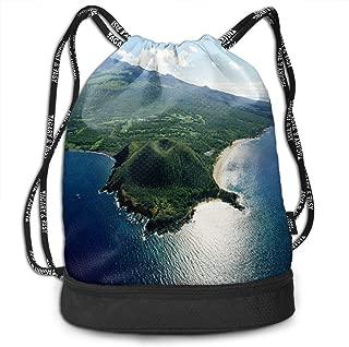 Sport Bundle Drawstring Backpack Large Islands Of Hawaii Travel Durable Large Space Gym Sack Cool