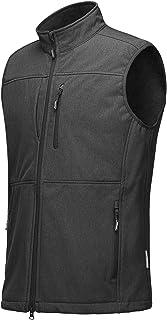 Men's Running Vest Outerwear, Lightweight Windproof Fleece-Lined Softshell Sleeveless Jacket for Golf
