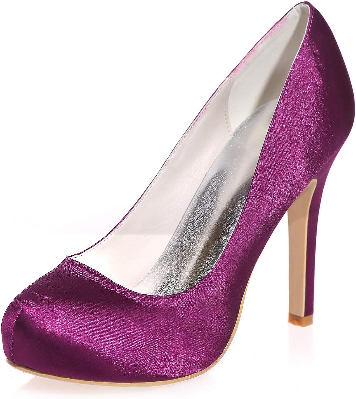 LLBubble Women Stiletto Heels Satin Wedding shoes Round Toe Platform Bridal Pumps Formal Party Dress shoes 6915-03A