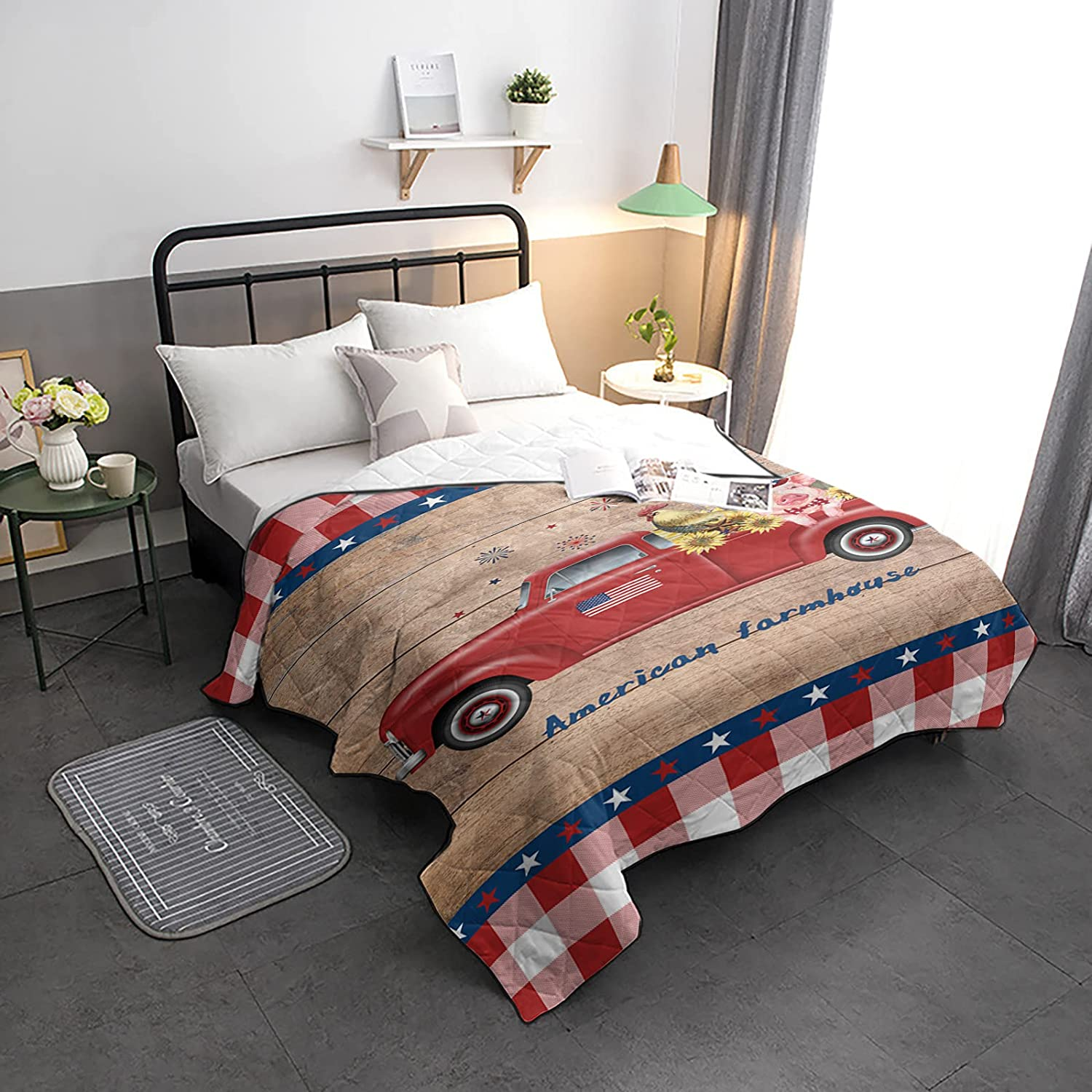 Down Alternative Comforter Popular product Max 75% OFF Farmhouse Red Truck Rooster with Cow