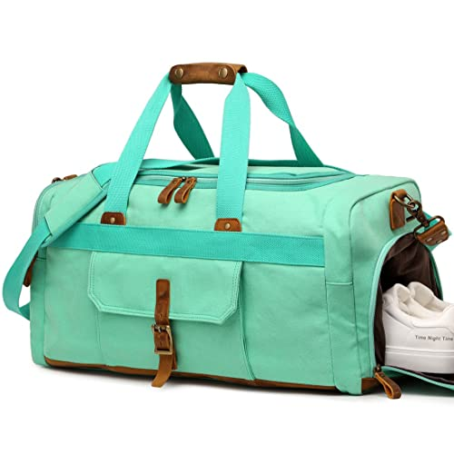 c871d01d95ab Weekender Overnight Duffel Bag with Shoes Compartment for Women Men Canvas  Weekend Travel Tote Carry On