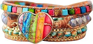 Chakra Gemstone Beaded Bracelet Natural Stone Healing Stones Meditation Wrap Bracelet Power Healing Bracelets for Clearing...