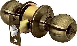 Hermex Basic BAL-LA-RP, Cerradura de pomo tipo esfera para recámara, mecanismo cilíndrico, latón antiguo