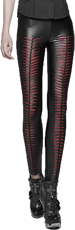 Punk Rave Black and Red Street Gothic Devil Footprints Leggings Pants for Women