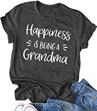 Happiness is Being a Grandma Shirt Womens Funny Letters Printed Grandmother Tee