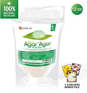 LIVING JIN Agar Agar Powder 12oz (or 4oz | 28oz) : Vegetable Gelatin Powder Dietary Fiber [100% Natural Seaweed + Non GMO + VEGAN + VEGETARIAN + KOSHER + HALAL]