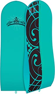"""Gusseted Gown Garment Bag for Women's Prom and Bridal Wedding Dresses - Travel Folding Loop, ID Window-72"""" x 24"""" with 10"""" Tapered Gusset - Blue and Black Tiara - by Your Bags"""