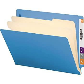 "Smead End Tab Classification File Folder, 2 Dividers, 2"" Expansion, Letter Size, Blue, 10 per Box (26836)"
