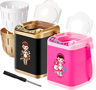 Makeup Washing Machine,2 Pieces Automatic Mini Washing Machine Toy Brushes Cleaner Device,Electronic Powder Puff Deep Clean Machine Washing Tools,Mini Toy(Black and Pink)