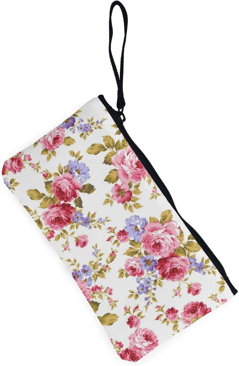 AORRUAM Flower texture Canvas Coin Purse,Canvas Zipper Pencil Cases,Canvas Change Purse Pouch Mini Wallet Coin Bag