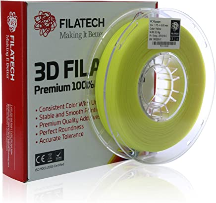 Filatech PC Filament, Yellow, 1.75mm, 0.5 kg, Made in UAE
