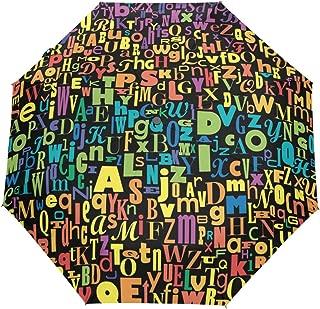U LIFE Abstract Colorful Alphabet Letter Auto Open Close Sun Rain Umbrella