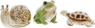 Lucky Winner Set of 3 Ceramic Garden Critters Figurines - Frog, Turtle, Snail