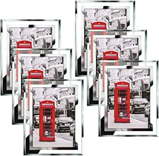 Schliersee 5x7 Glass Picture Frames Desktop Display Multi Mirror Edge Bulk Photo Frame Set, 6 Pack