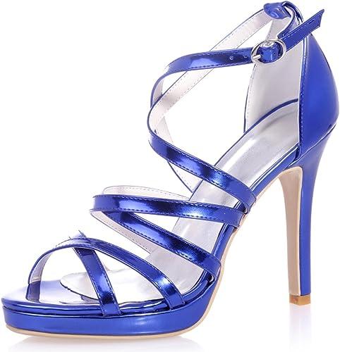Elobaby zapatos De Boda De Las mujeres PU Hebilla SóLida Brillo De La Correa Novia BáSica Noche   11 Cm TalóN