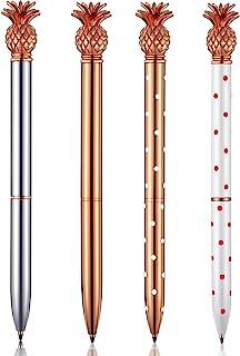 Bolígrafo de Piña Bolígrafo de Metal Dorado Rosado para Escuela Oficina, 1,0 mm, Tinta Negra (4 Piezas)
