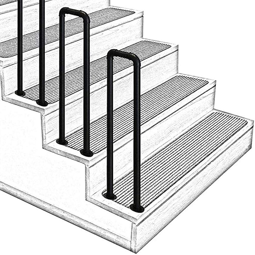 四回コールドビット屋内および屋外-U字型工業用風パイプ階段の手すり-高齢者の子供のロフト回廊安全サポートバーのための手すり-錬鉄+亜鉛メッキパイプ素材素朴なブラック-設置が簡単-1個のU字型35cm-95cm (1.1ft-3.1ft)35cm-95cm (1.1ft-3.1ft)