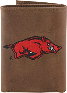 NCAA Arkansas Razorbacks Zep-Pro Crazyhorse Leather Trifold Embroidered Wallet, Light Brown
