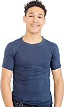 Fun and Function's Crisp White Tagless Short Sleeves Hug Tee Shirt for Deep Pressure for Kids with Sensory Issues Navy Blue (Ages 4-5)