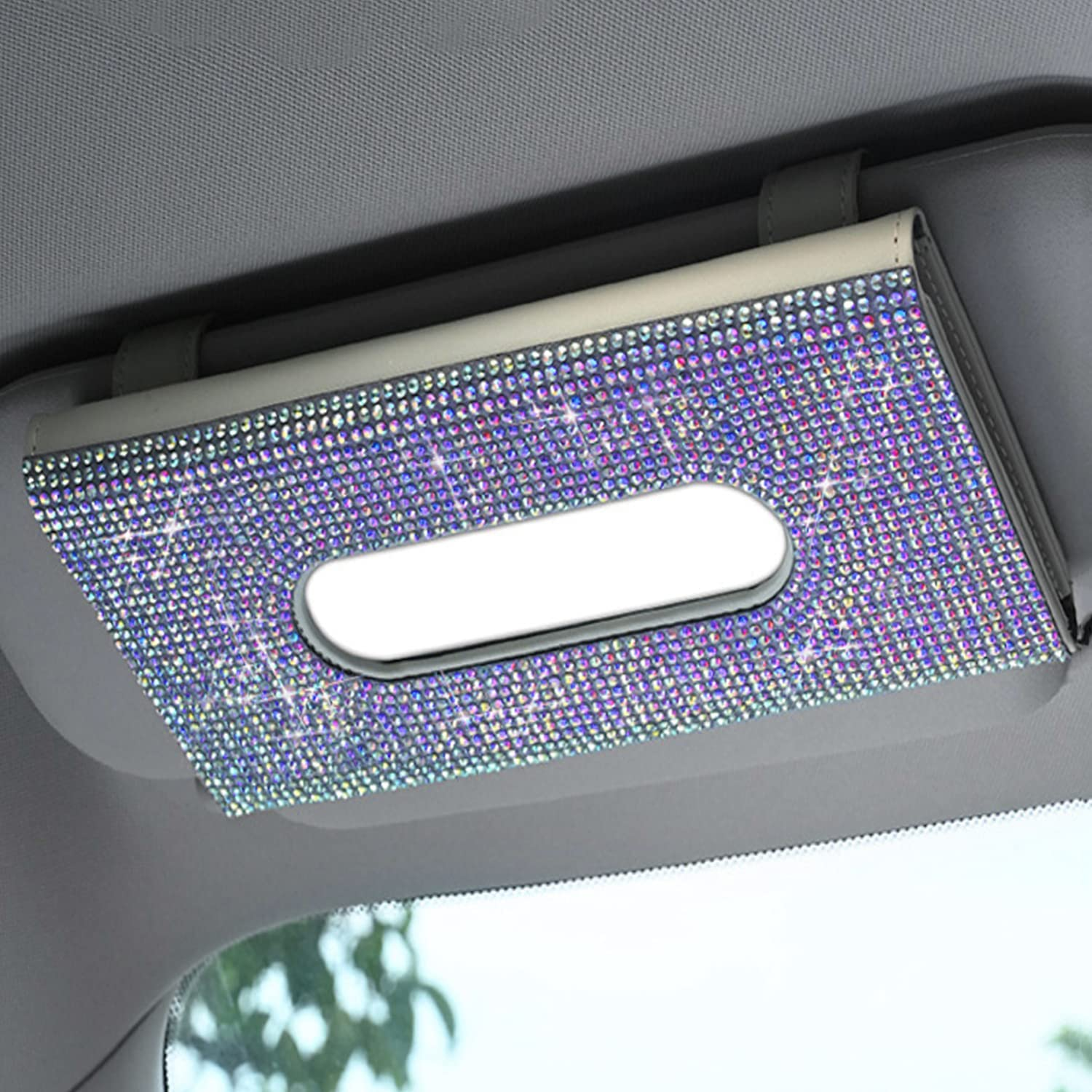 Pinbola Max 41% OFF Bling Sparkling Car Tissue Box Crystal All items in the store Holder Visor Sun