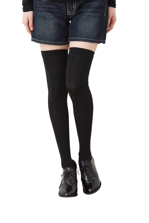 鯨スタジオ交じる着圧 ニーハイソックス (平無地?60cm丈) ブラック 黒 靴下 レディース