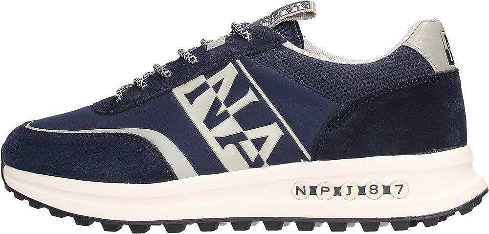Napapijri sneakers scarpe da uomo modello slate in camoscio e tessuto nylon blu con logo laterale bianco 11239281-50-40