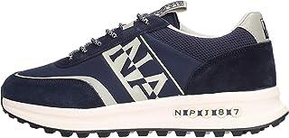 Zapatillas deportivas de hombre modelo Slate de ante y tela de nailon azul con logotipo lateral blanco. Fondo de goma antideslizante.