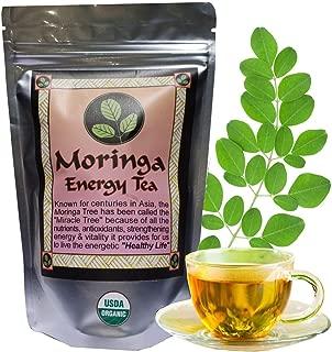 MORINGA ENERGY TEA - Loose leaf. USDA Organic, hand harvested and freshly packaged, large 3 oz size, with larger cut leaf tea size.