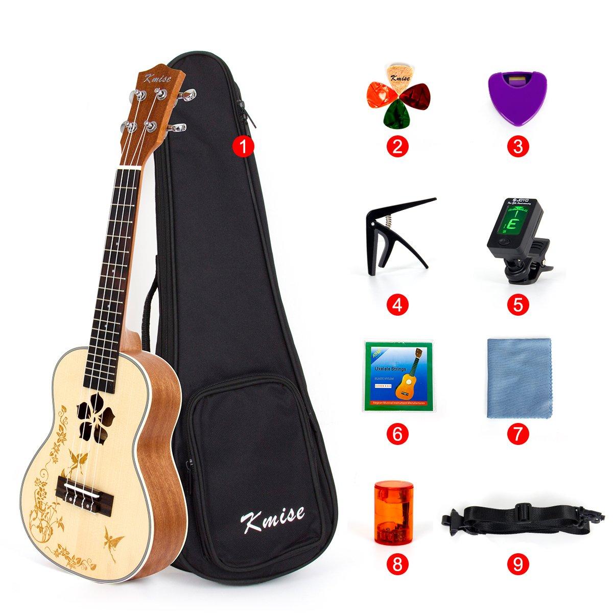 Bag Picks Tuner Strap String Cleaning Cloth Capo Finger Shot Solid Spruce Ukulele 23 Inch Concert Ukelele With 9 Packs Beginner Starter Kit From Kmise
