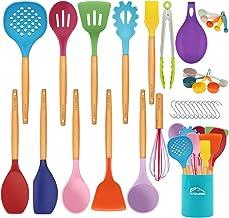 Aybloom 25 PCS Silicone Kitchen Cooking Utensil Set, Wooden Handles BPA Free Heat Resistant Silicone Kitchen Cooking Tool for Nonstick Cookware(Colorful 25pcs)