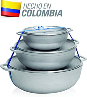 IMUSA USA Traditional Colombian Natural 3-Piece Caldero Set, 18 by 24 by 28cm, Silver