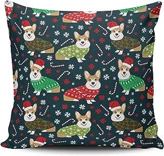 MUKPU Fashion Home Decoration Design Throw Pillow Case Navy Green Red Christmas Corgi Xmas Dog 18X18 Inch Square Custom Pillowcase Cushion Cover Double Sided Printed (Set of 1)