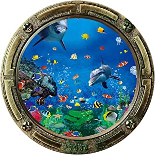 3D Porthole Dolphins Fish Window Wall Sticker| Removable Fake Submarine Window Wall Vinyl Decal| Undersea Peel and Stick M...