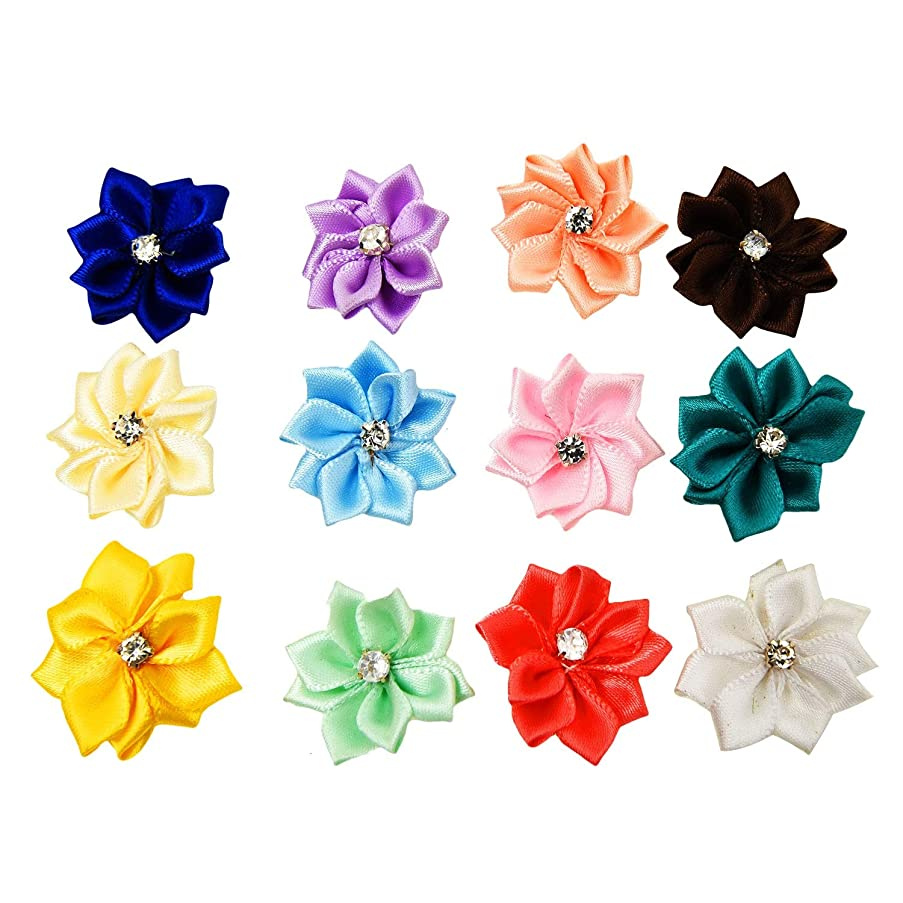 Monrocco 50Pcs Multicolor Satin Ribbon Craft Flowers with Rhinestone for Wedding Ornament Appliques
