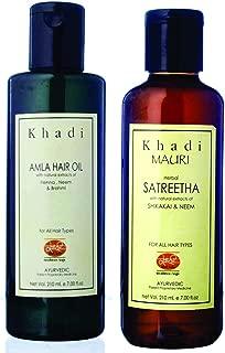 Khadi Mauri Amla Hair Oil & Satreetha Shampoo Combo Pack Of 2 Herbal Ayurvedic Natural 210 Ml Each
