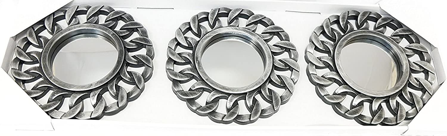 All American Collection 3 Piece Decorative Mirror Set, Wall Accent Display (Silver Chain)